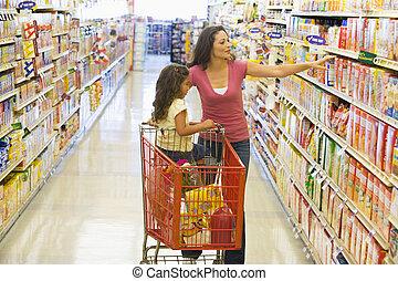 娘, 買い物, スーパーマーケット, 母