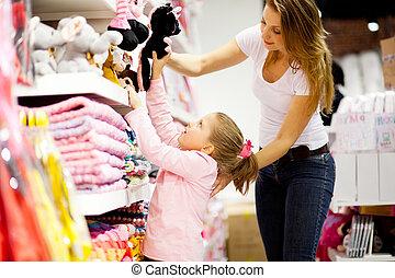 娘, 買い物, 母