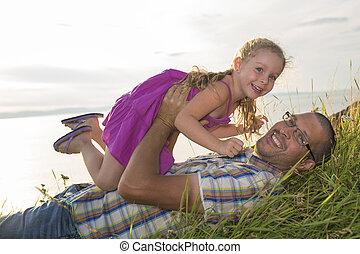 娘, 遊び, 父, 一緒に, 楽しみ, 持つこと