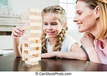 娘, jenga, 母, ゲーム, テーブル, 家, 遊び, 幸せ
