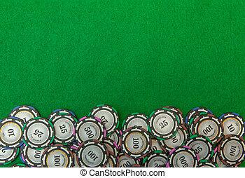 娱乐场芯片, 在上, 绿色的背景