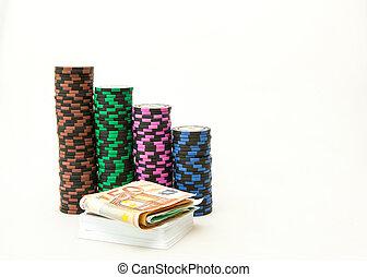娱乐场芯片, 欧元纸币, 同时,, 骰子