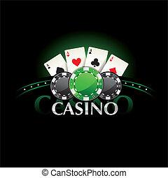 娱乐场, 元素, 扑克牌, 卡片, 同时,, 芯片