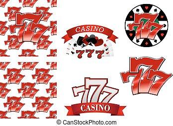 娱乐场, 同时,, 赌博, 象征, 或者, 徽章