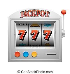 娱乐场, 狭缝, 赌博, 机器, 矢量, 幸运, 同时,, 取得胜利, 概念