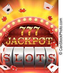 娱乐场, 狭缝, jackpot, 777, signboard.