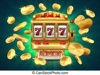 娱乐场, 狭缝, machine., 777, jackpot, 取得胜利, 游戏, 博彩, 背景, 飞行, 金色,...