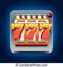 娱乐场, 矢量, smartphone, 游戏, 图标, 带, 777, 取得胜利, 狭缝机器
