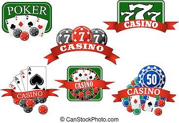 娱乐场, jackpot, 同时,, 扑克牌, 赌博, 图标