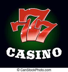 娱乐场, jackpot, 图标, 带, 红, 幸运的数字