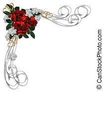 婚礼邀请, 红的玫瑰花, 边界