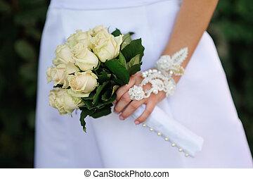 婚禮花束, 在, 手, ......的, the, 新娘