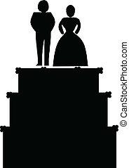 婚禮蛋糕, 矢量, 黑色半面畫像