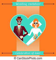 婚禮邀請, 卡片, 樣板, 在, retro, style.