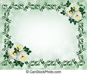 婚禮邀請, 白色, 玫瑰