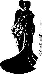 婚禮, 新娘和新郎, 黑色半面畫像