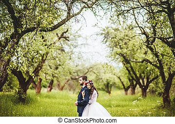 婚禮, 步行, 上, 自然