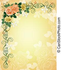 婚禮, 玫瑰, 邀請, 邊框