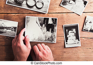 婚禮, 相片, 上, a, 桌子