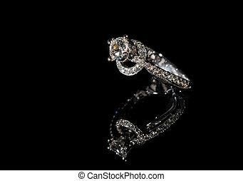 婚約指輪, ダイヤモンド, 黒い背景