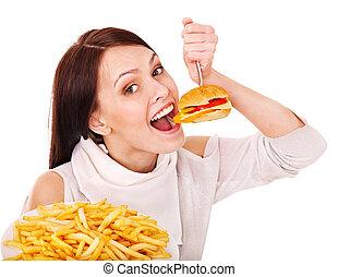 婦女吃, 快, 食物。