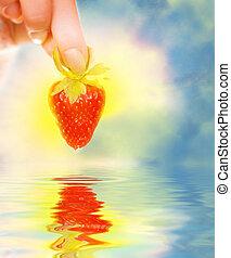 婦女的手, 由于, a, 新鮮的草莓