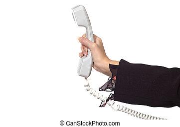 婦女的手, 由于, a, 電話收受者