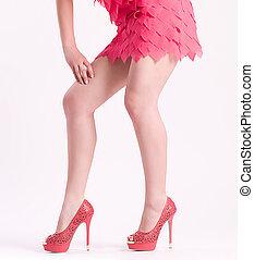 婦女的, 腿, 在, 時裝, 鞋子