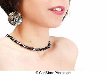 婦女肖像, 由于, 耳環