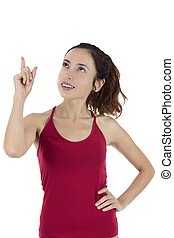 婦女藏品, 她, 手指, 向上, 到, 模仿空間