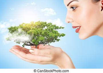 婦女藏品, a, 植物, 在, 她, 手