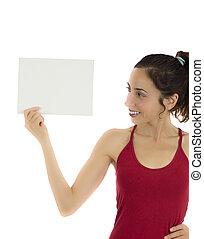 婦女藏品, a, 空白, 海報, 為, 廣告
