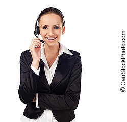 婦女談話, 所作, 電話, 如, 顧客服務