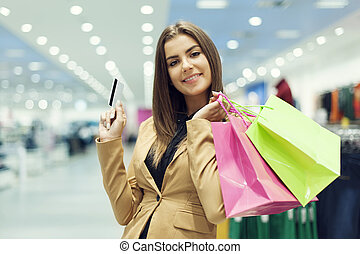 婦女購物, 信用, 年輕, 袋子, 卡片