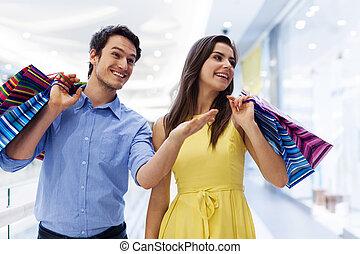 婦女購物, 顯示, 購物中心, 某事, 微笑人