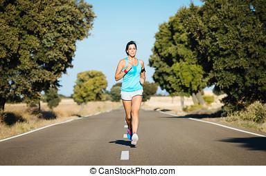 婦女跑, 努力, 以及, 以及, 出汗