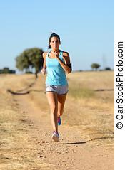 婦女跑, 產生雜種, 形跡, 在, 國家, 路徑