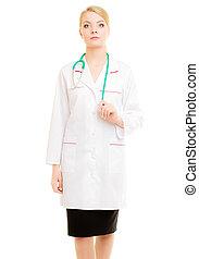 婦女醫生, 在, 實驗室上衣, 由于, stethoscope., 醫學