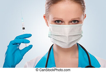 婦女醫生, 在, a, 面罩, 由于, a, 注射器, 由于, a, 痘苗