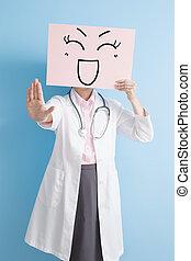 婦女醫生, 拿, 微笑, 廣告欄