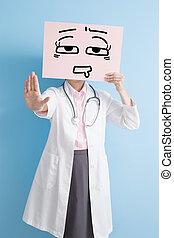 婦女醫生, 拿, 疲倦, 廣告欄
