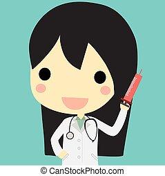 婦女醫生, 注射器, 漂亮