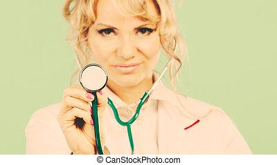 婦女醫生, 由于, stethoscope.
