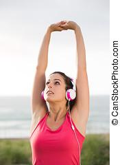 婦女, 上, 夏天, 健身, 測驗, 伸展武器