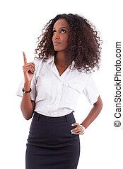 婦女 事務, 人們, 顯示, -, 年輕, 被隔离, 某事, 背景, african american, 白色, 在上方