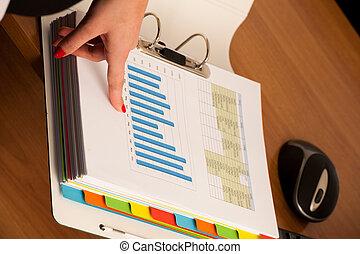 婦女 事務, 檢查, 手, 前面, 文件夾, 數据, 頁