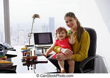 婦女 事務, 母親, 工作, 孩子, 肖像, 玩