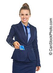 婦女 事務, 給, 信用, 微笑, 卡片