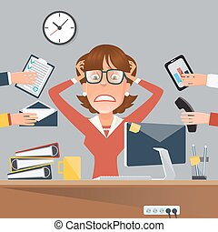 婦女 事務, 辦公室工作, 插圖, 矢量, 著重強調, 多任務, place.