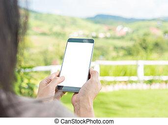 婦女, 使用, 她, 流動, smartphone